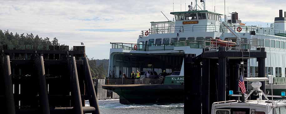 Washington State Ferry approaching the dock at Orcas Landing.