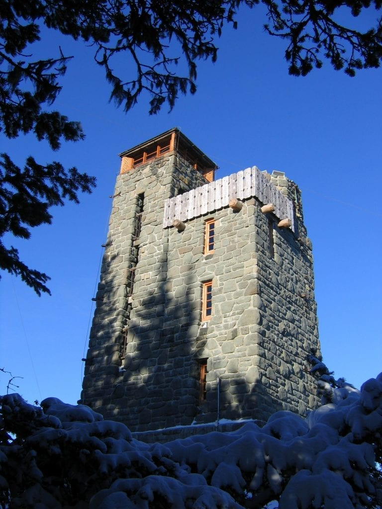 Winter view of the watch tower at the top of Mount Constitution.
