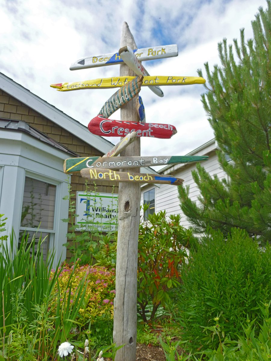 Driftwood beach signs at T Williams Realty in Eastsound, Orcas Island